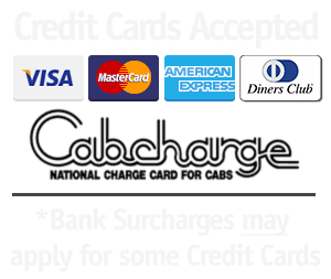 Come Cruise'n Adelaide Mini Bus Accept Major Credit Cards and Cabcharges!